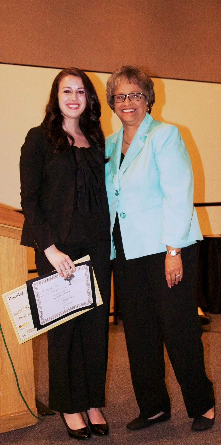 Nursing Student Jessica Watts wins the Board of Visitors Award