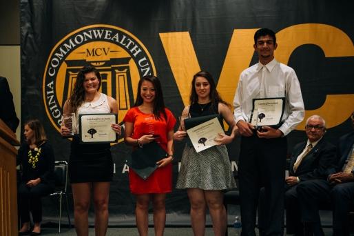 University Leadership Award recipients: Ashley Rivera, Tien Truong, Zhina Kamali and Ali Salman