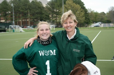 William and Mary field hockey coach and player photo