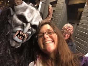Jessica Buchanan and a halloween monster