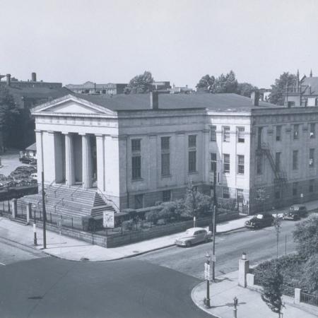 Aged photo of Hunton's exterior