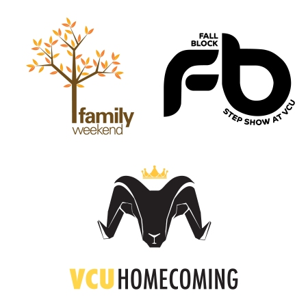 Family Weekend, the Fall Black Step Show, and VCU Homecoming displays their logos for the upcoming events.