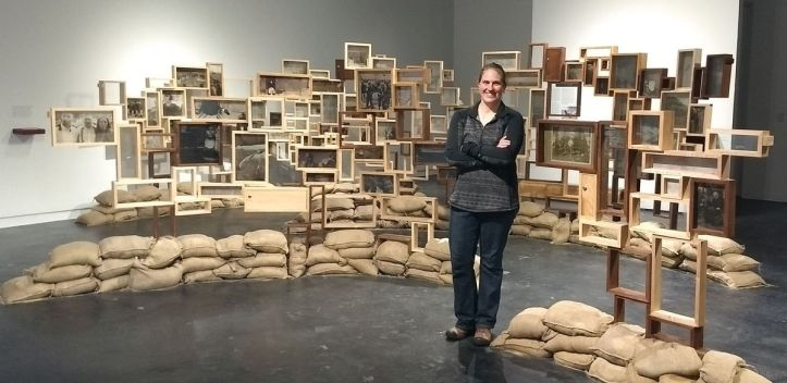 Alicia Dietz with exhibition display