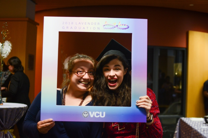 Lavender Graduation 2018 - Two graduates and photo frame.