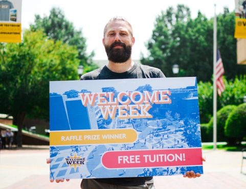 The winner of Welcome Week's free tuition raffle