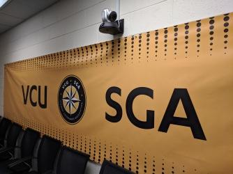 VCU SGA Banner and camera
