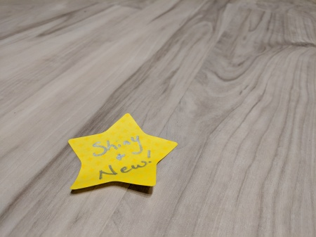 Shiny and New - Star Post-It on Commons Theater Floor